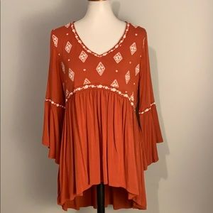 TORRID (0) FALL ORANGE EMBROIDERED TUNIC